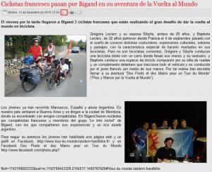 Article presse argentine tour du monde tandem vélo 2010