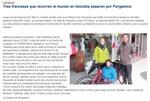"""Article paru dans le quotidien """"La Optinion"""" tour du monde vélo 2010"""